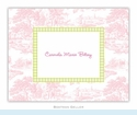 Toile Pink with Lime Check Folded Notes (set/25)