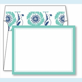 Turquoise Border Small Flat Cards w/Coordinating Liner - click to enlarge