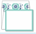 Turquoise Border Small Flat Cards w/Coordinating Liner