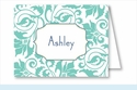 Turquoise Floral Vine Note Cards
