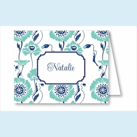 Turquoise/Navy Morning Glory Note Cards - click to enlarge
