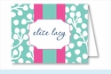 Turquoise Willow w/Hot Pink/Turquoise Stripe Note Cards