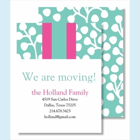 Turquoise Willow w/ Hot Pink/Turquoise Stripe Small Flat Cards - click to enlarge