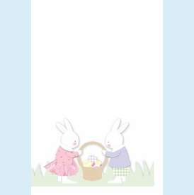 Two Bunnies with Basket Invitation - click to enlarge