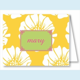 White Poppy on Yellow Note Cards - click to enlarge