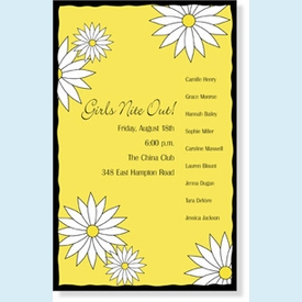 Yellow Daisy Graphic Invitation - click to enlarge