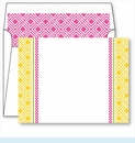 Yellow Diamond Border Small Flat Cards w/Coordinating Liner