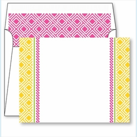 Yellow Diamond Border Small Flat Cards w/Coordinating Liner - click to enlarge