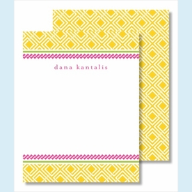 Yellow Diamond w/Hot Pink Braid Small Flat Cards - click to enlarge