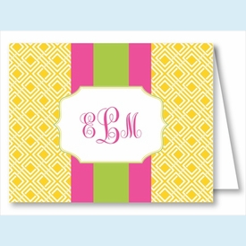 Yellow Diamond w/Hot Pink/Lime Stripe Note Cards - click to enlarge