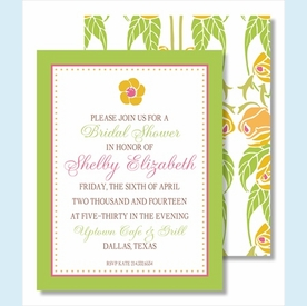 Yellow Flower Green Border Small Flat Cards - click to enlarge
