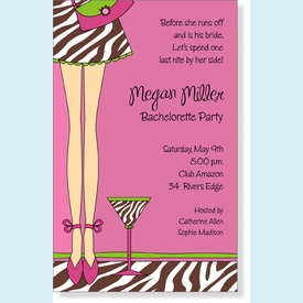 Zebra Mini Skirt Martini Invitation - click to enlarge