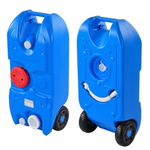 10.5 GAL Portable Wheeled Water Tank Travel Camping Blue