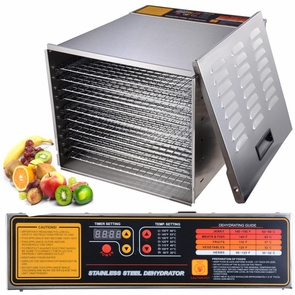 10 Tray 1200W Commercial Stainless Steel Food Dehydrator