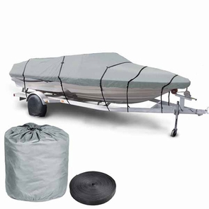 16'-18' Waterproof V-Hull Trailerable Fishing Boat Cover Gray