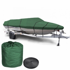 16'-18' Waterproof V-Hull Trailerable Fishing Boat Cover Green