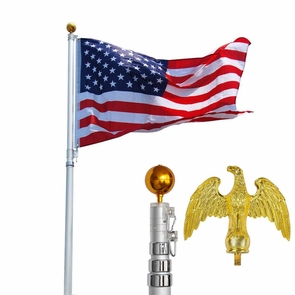 16 ft Aluminum Telescoping Flag Pole Kit Eagle Finial