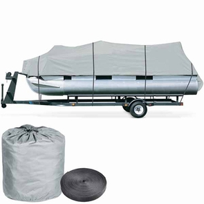 17'-19' Waterproof Pontoon Trailerable Boat Cover Gray
