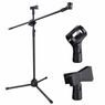 2 Clips Adjustable Stage Microphone Tripod Boom Stand