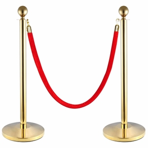 2-Pack Crowd Control Stanchions Barriers Velvet Rope