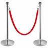 2-Pack Stainless Steel Crowd Control Stanchions Barriers Velvet Rope
