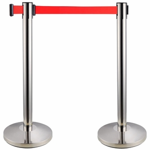 2-Pack Stainless Steel Crowd Control Stanchions w/ Retractable Belt
