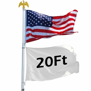20 ft Aluminum Telescoping Flag Pole Kit Eagle Finial II