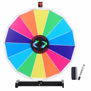 "24"" 14 Slots Tabletop Spinning Prize Wheel Dry Erase"