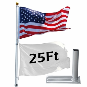25 ft Aluminum Outdoor Flag Pole Kit with Tire Stand