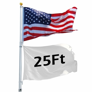 25 ft Aluminum Telescoping Flagpole Kit with US Flag