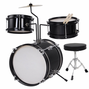 3-Piece 8-Inch Kids Drum Set Kit w/ Cymbal Drum Throne Black