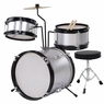 3-Piece 8-Inch Kids Drum Set Kit w/ Cymbal Drum Throne Silver
