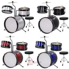 "3Pcs 8"" Kids Drum Kit Set w/ Cymbal Drum Throne Color Opt"