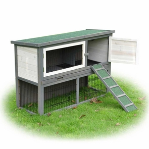 "43""x18""x31"" 2-Story Wooden Rabbit Hutch Guinea Pig Cage House"