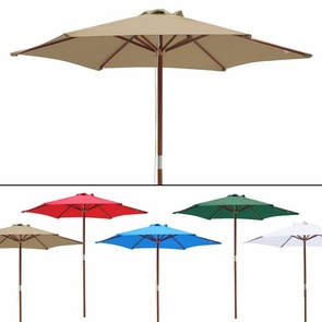 8 Foot Patio Furniture Wood Market Umbrella Multiple Color Options