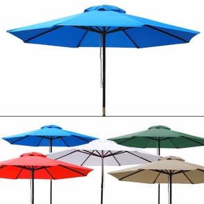 9 Foot Patio Furniture Wood Market Umbrella Multiple Color Options