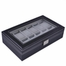 Black Leather 12 Watch Display Case Glass Top Jewelry Box