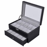 Black Leather 20 Watch Case Glass Top Jewelry Display Box