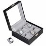 Black Leather 24 Watch Display Case Glass Top Jewelry Box