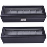 Black Leather 6 Watch Display Case Glass Top Jewelry Box