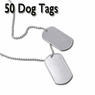 Blank Military Stainless Steel Dog Tag Pendant 50 Pcs
