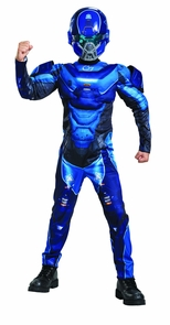 Blue Spartan Muscle Chld 10-12 Costume