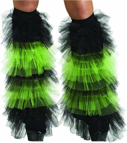 Boot Covers Tulle Ruffle Bk Gr Costume