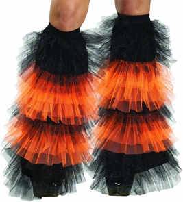 Boot Covers Tulle Ruffle Bk Or Costume
