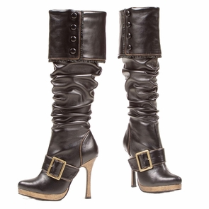 Boot Knee High Black Size 8 Costume