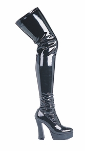 Boot Thrill Thigh Hi Blk Sz 9 Costume