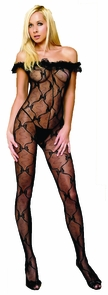 Bow Lace Bodystocking Black Costume