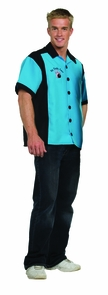 Bowling Shirt Turquoise Xl Costume