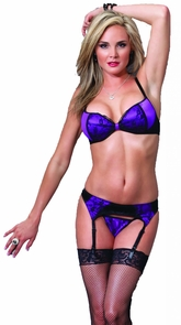 Bra And G-string Blk/purple Costume