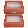 Brown Leather 10 Watch Display Case Glass Top Jewelry Box